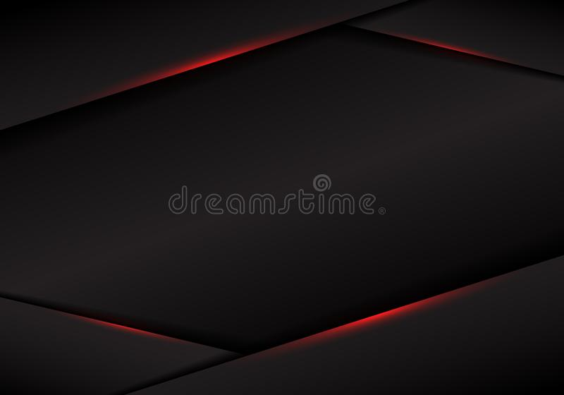 Luz vermelha metálica da disposição do quadro do preto do molde do sumário no fundo escuro conceito futurista luxuoso moderno da  ilustração stock