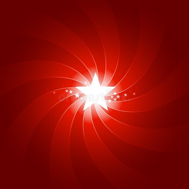 A luz vermelha vibrante estourou com brilho da estrela center ilustração do vetor