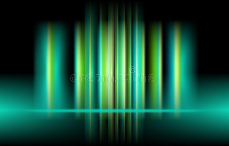 Luz vertical da cor verde da Aurora do vetor abstraia o fundo ilustração do vetor