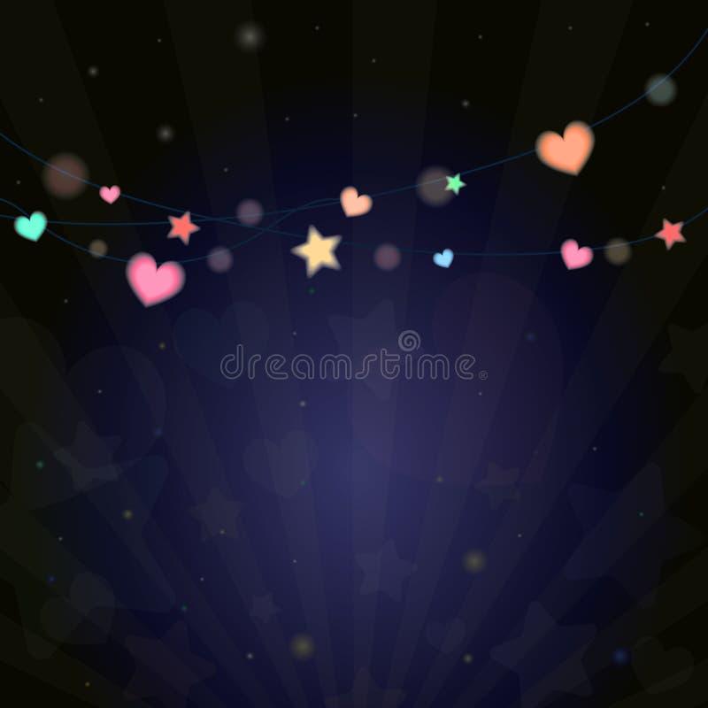 Luz viva colorida del bokeh de la linterna en noche del festival ilustración del vector