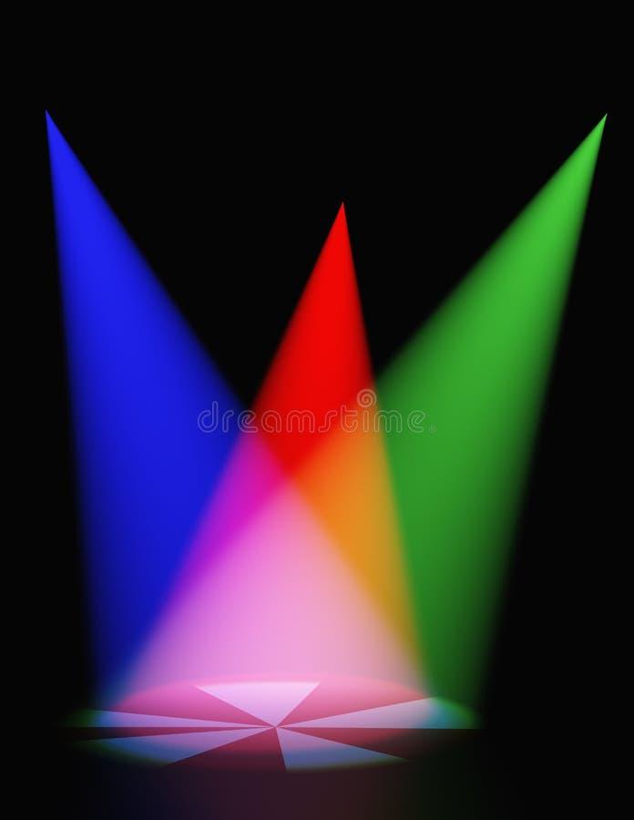 Luz Volumetric da cor ilustração do vetor