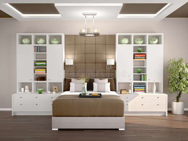 Luz y dormitorio moderno acogedor con los guardarropas libre illustration