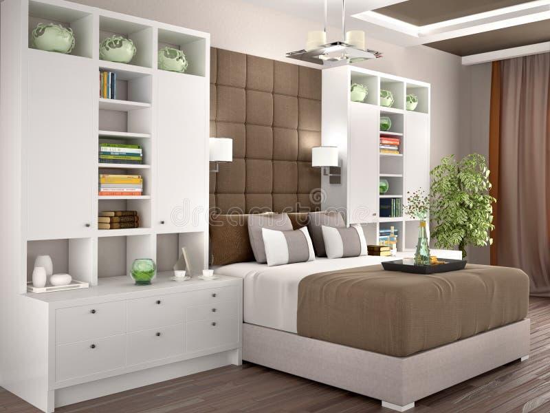Luz y dormitorio moderno acogedor con los guardarropas ilustración del vector