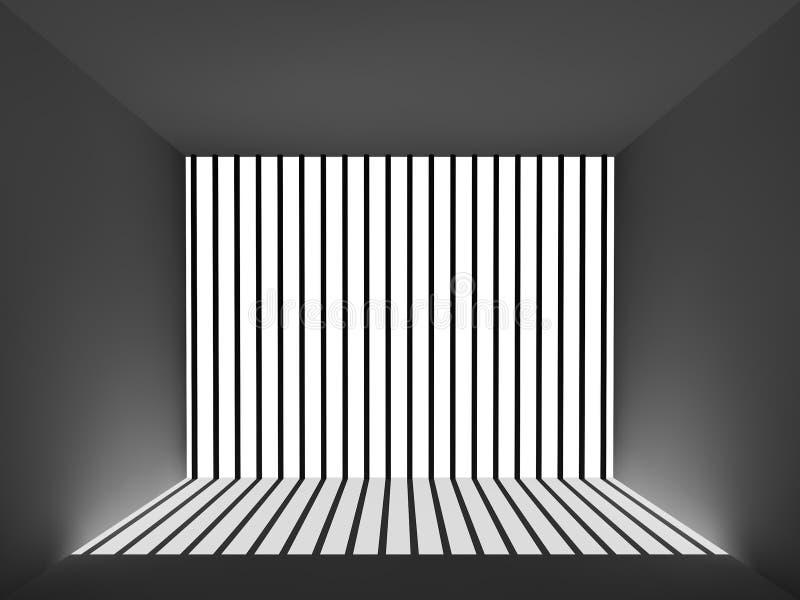 Luz y sombra en el cuarto de la prisión ilustración del vector