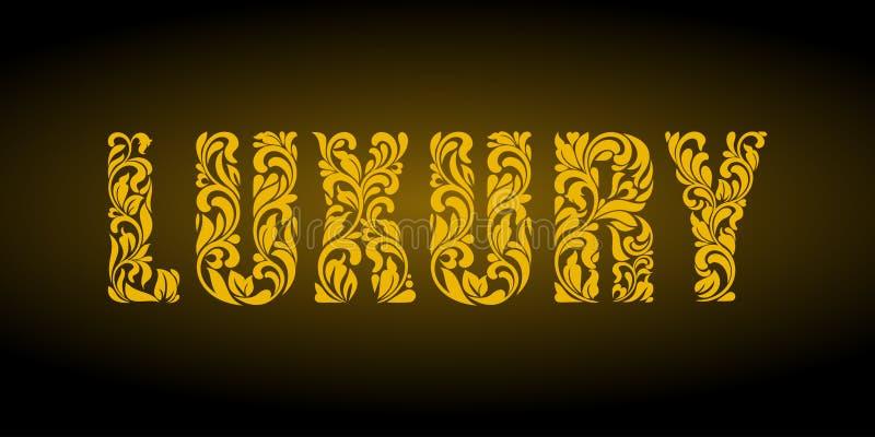 luz Złoci listy od kwiecistego ornamentu na ciemnym tle ilustracja wektor