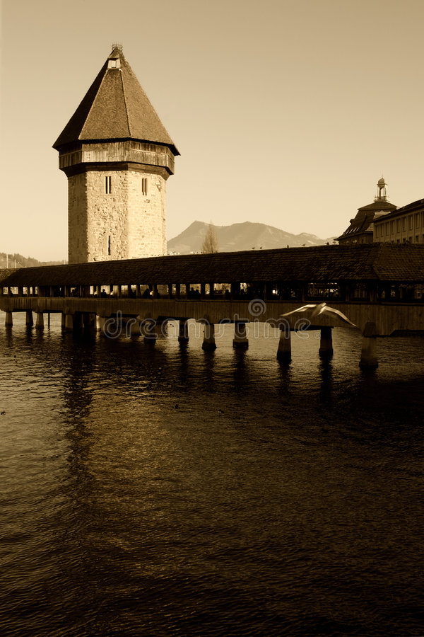 Luzern Chapel bridge stock photo