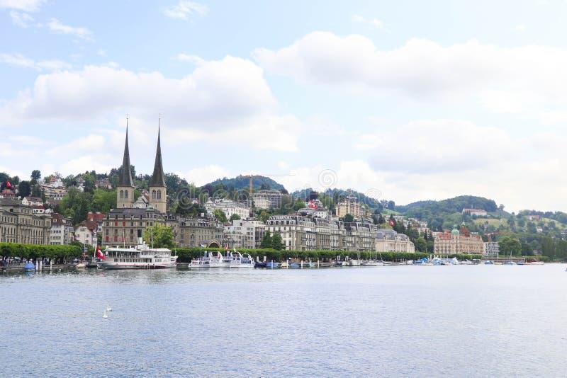 Luzern/Schweiz - Maj 31,2018: Härlig stad av Luzern i Schweiz royaltyfria foton