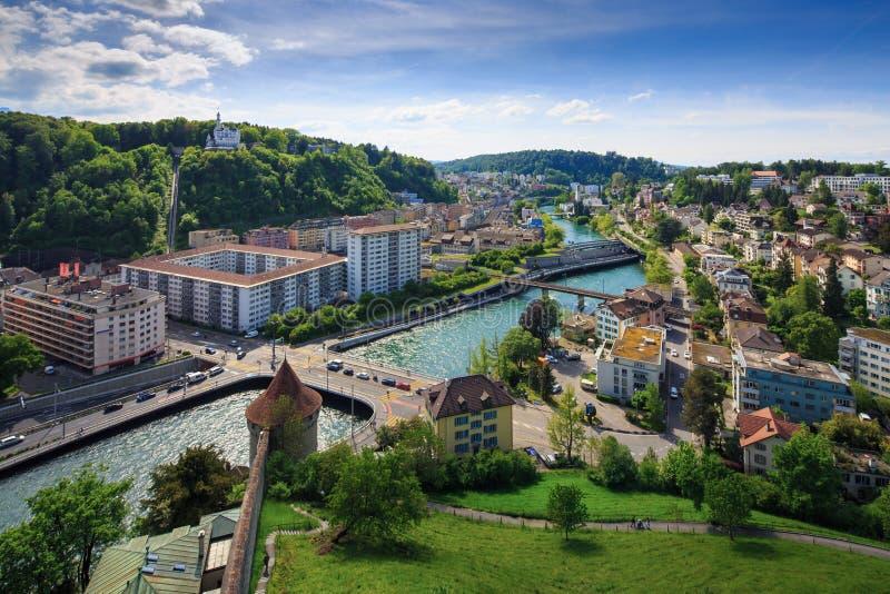 LUZERN, SUÍÇA - 20 DE MAIO DE 2016: Vista panorâmica de Luzern para fotos de stock royalty free