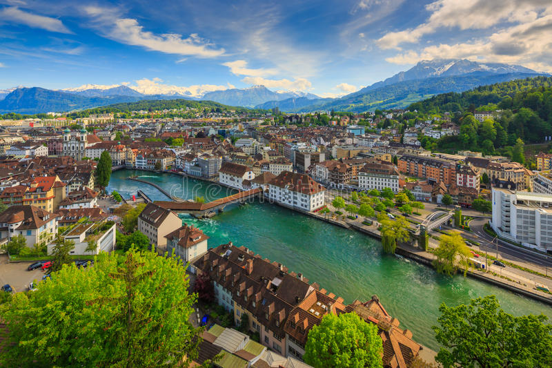 Luzern, Suíça, vista superior fotografia de stock royalty free