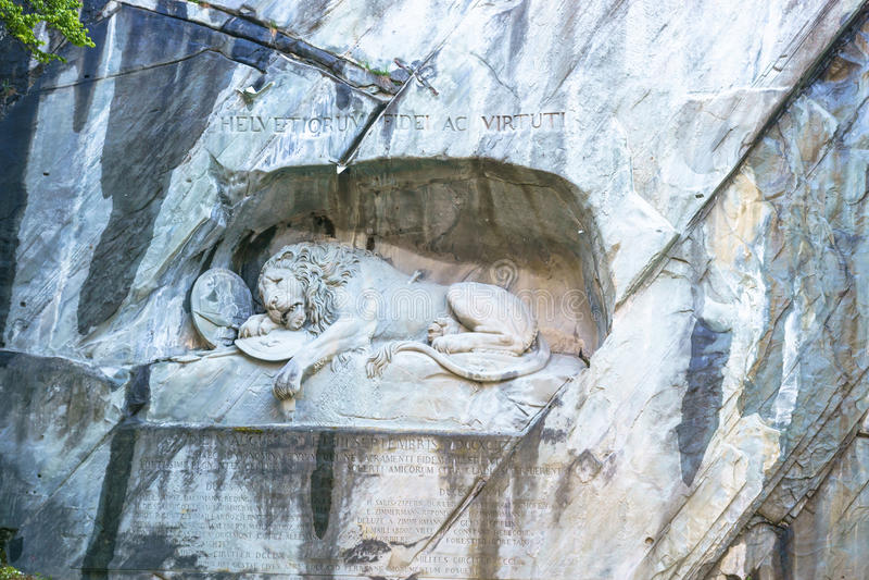Luzern, Switzerland - April 30, 2017: Luzern dying lion monument royalty free stock photos