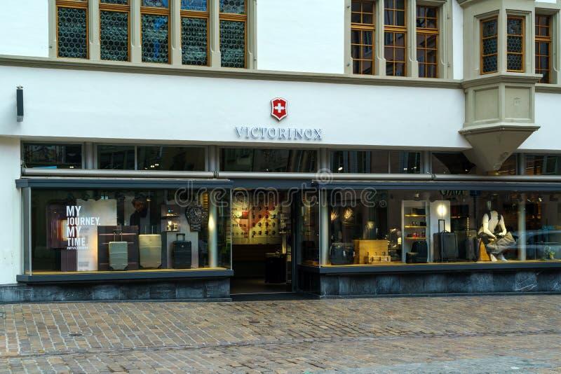 Luzerne, Suisse - 19 octobre 2017 : Boutique du Swis célèbre image libre de droits