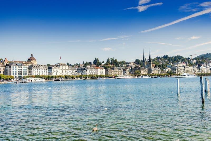 Luzerne-waterkantgebouwen royalty-vrije stock foto's