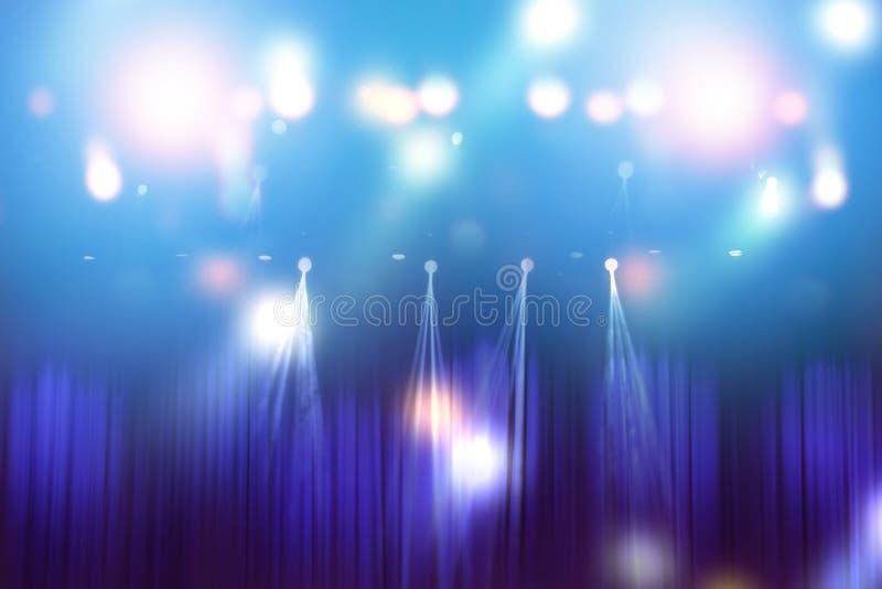 Luzes borradas na fase, sumário da iluminação do concerto imagens de stock royalty free