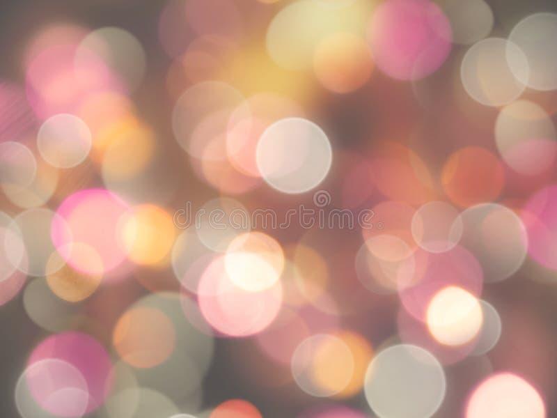 Luzes borradas redondas de incandescência do rosa e as brancas com fundo alaranjado do efeito do brilho imagem de stock