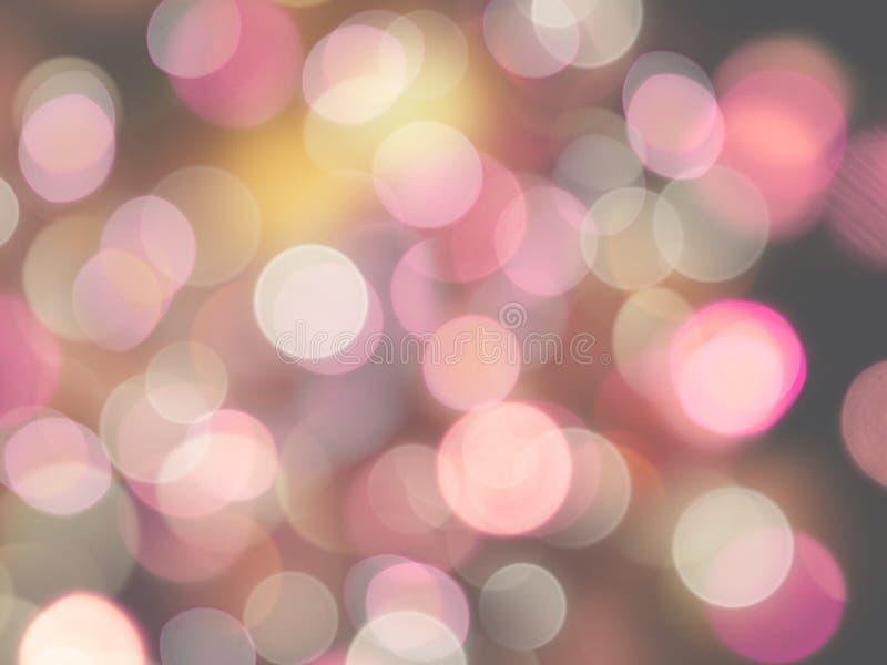 Luzes borradas redondas de incandescência do rosa e as brancas com fundo alaranjado do efeito do brilho imagens de stock