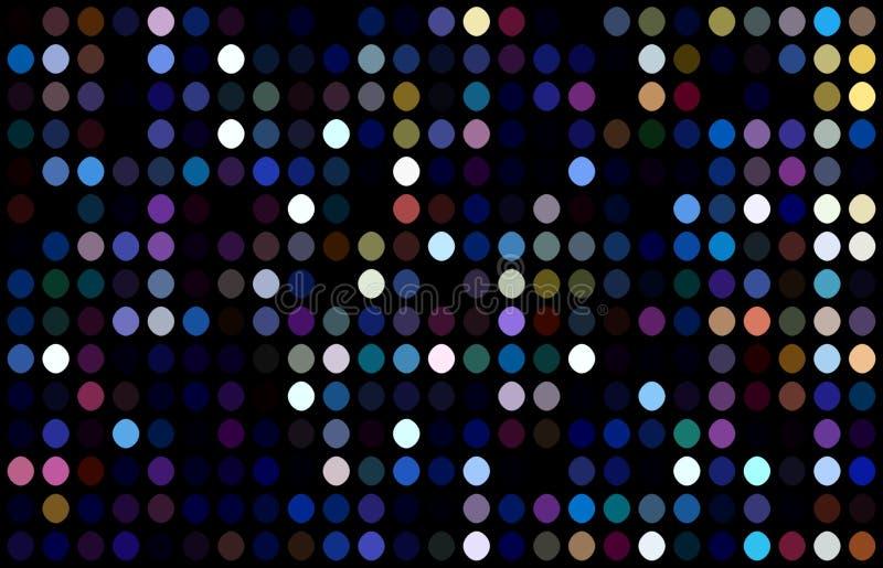 Luzes brancas lilás azuis dos pontos no fundo preto Papel de parede da decoração do partido de disco A obscuridade festiva vislum ilustração do vetor