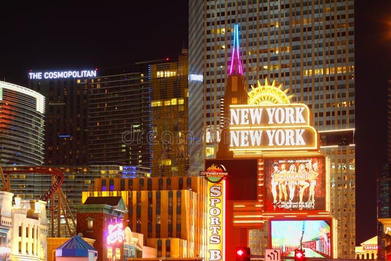 Luzes brilhantes da tira de Las Vegas fotos de stock
