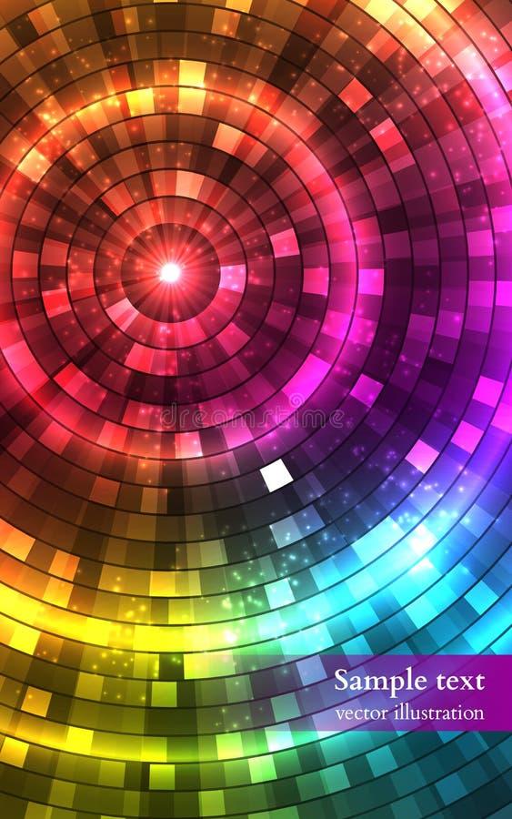 Luzes coloridas abstratas do disco Túnel Vetor ilustração do vetor