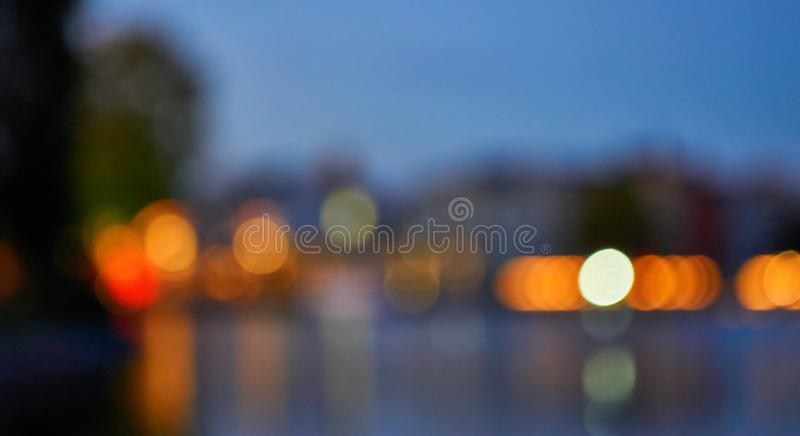Luzes coloridas desfocadas como fundo horizontal fotografia de stock