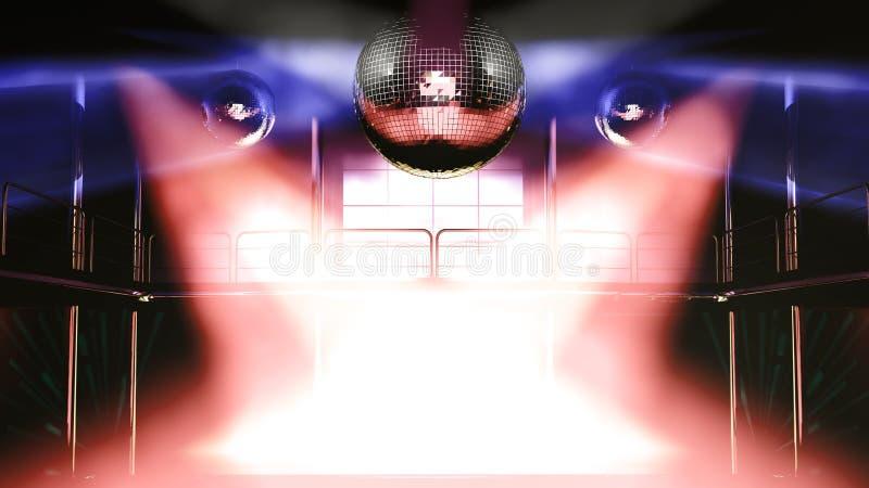 Luzes coloridas do discotheque do clube de noite ilustração stock