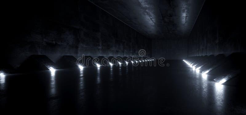 Luzes conduzidas materiais do Grunge estrangeiro moderno futurista vazio escuro do túnel do corredor do navio de Sci Fi e brancas ilustração royalty free