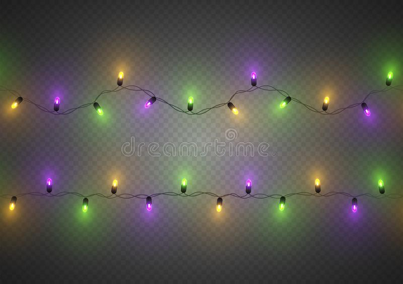 Luzes conduzidas tradicionais coloridas decorativas de Mardi Gras, sem emenda, isoladas, ilustração do vetor ilustração do vetor