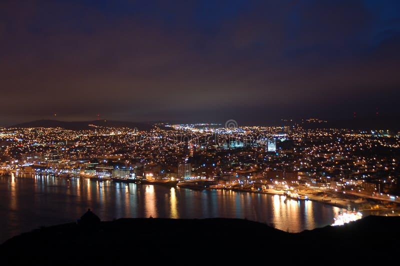 Luzes da cidade de St. John fotografia de stock