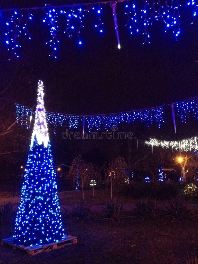 Luzes da cidade do Natal imagens de stock