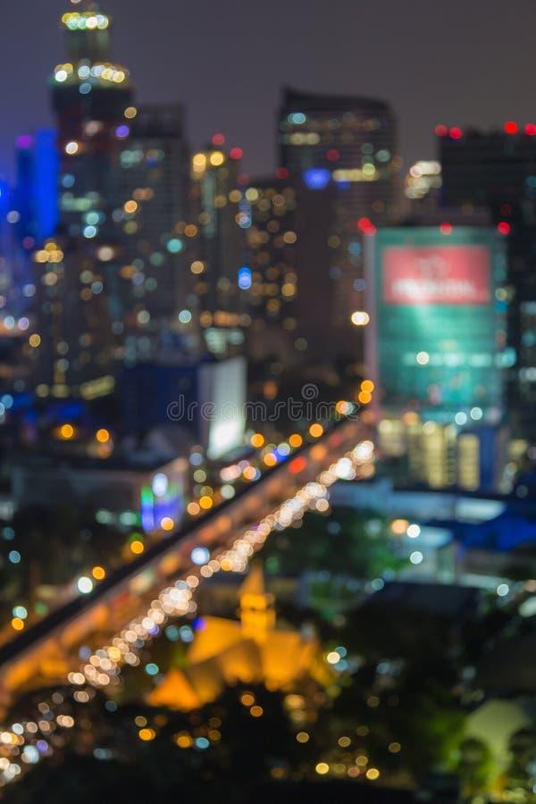 Luzes da cidade grande, fundo da noite do bokeh, cidade de Banguecoque imagens de stock royalty free