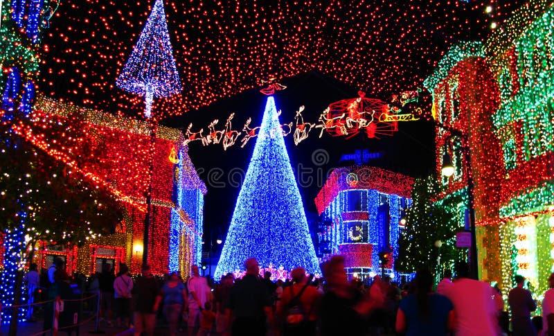 Luzes da dança da família de Disneyworld Osborne imagens de stock