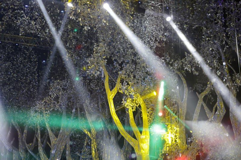 Luzes da fase com árvores e fundo do fumo fotografia de stock royalty free