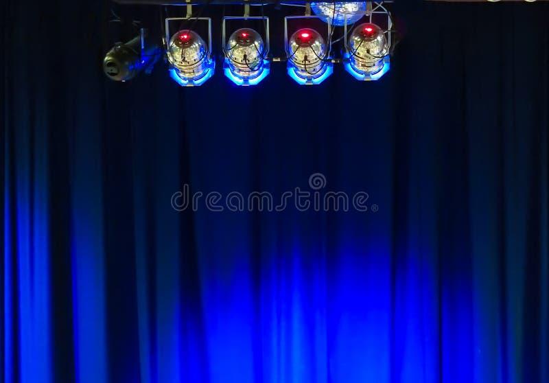 Luzes da fase e cortina 2 fotografia de stock royalty free