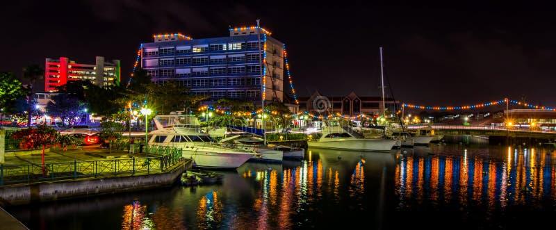 Luzes da independência e de Natal em Bridgetown, Barbados imagens de stock