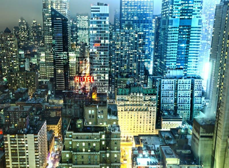 Luzes da noite de New York City fotografia de stock