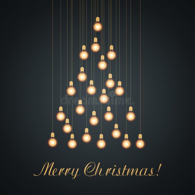 Luzes de bulbo do Natal arranjadas da árvore de Natal Cor do ouro ilustração stock