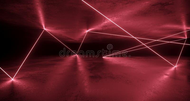 Luzes de néon caóticas da ficção científica futurista refletidas na sala concreta imagem de stock
