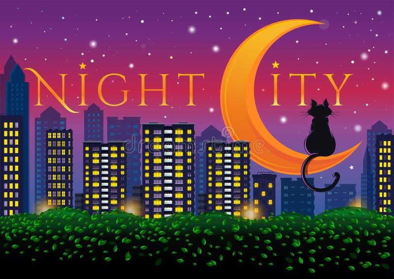 Luzes de néon da cidade grande Ilustra??o do vetor ilustração royalty free