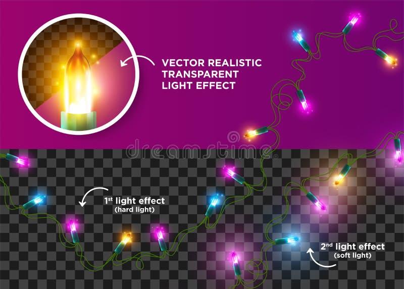 Luzes de néon do diodo emissor de luz do vetor do Natal Festão da corda da árvore de Natal ilustração stock