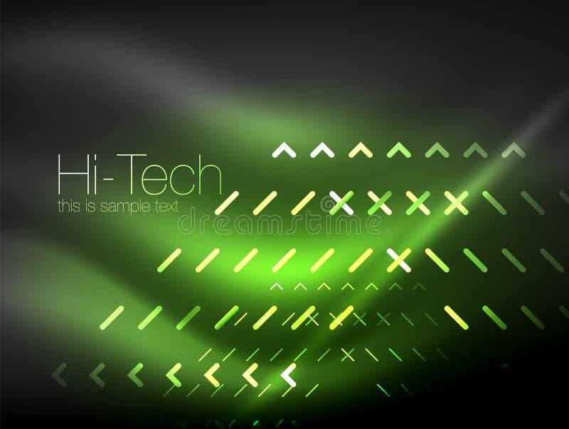 Luzes de néon futuristas no fundo escuro, fundos abstratos digitais do techno ilustração do vetor
