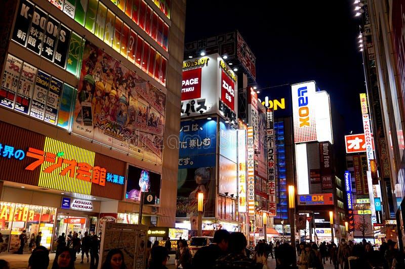 Luzes de néon de Japão Akihabara do Tóquio fotos de stock royalty free