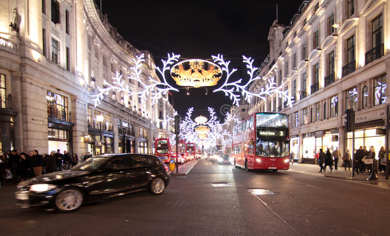 Luzes de Natal de Londres imagem de stock