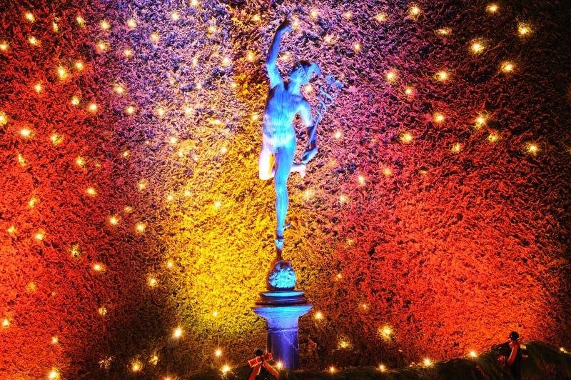 Luzes de Natal em jardins do butchart imagem de stock royalty free