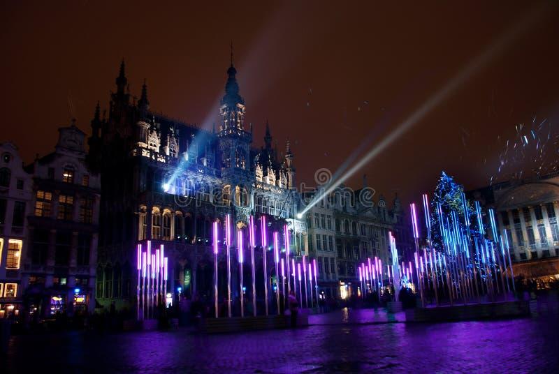Luzes de Natal grandes do lugar de Bruxelas fotos de stock royalty free