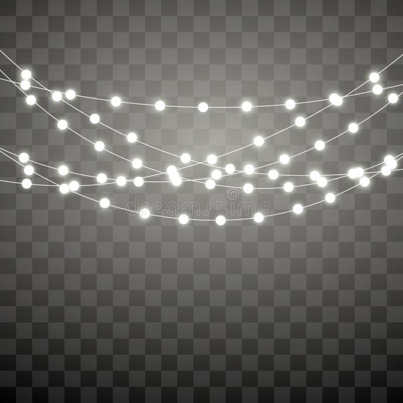 Luzes de Natal isoladas no fundo transparente Festão de incandescência do Xmas Elementos decorativos do projeto do feriado garlan ilustração royalty free