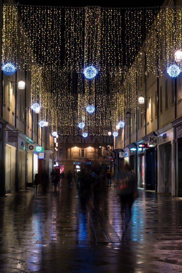 Luzes de Natal na alameda do banho de Southgate fotografia de stock royalty free