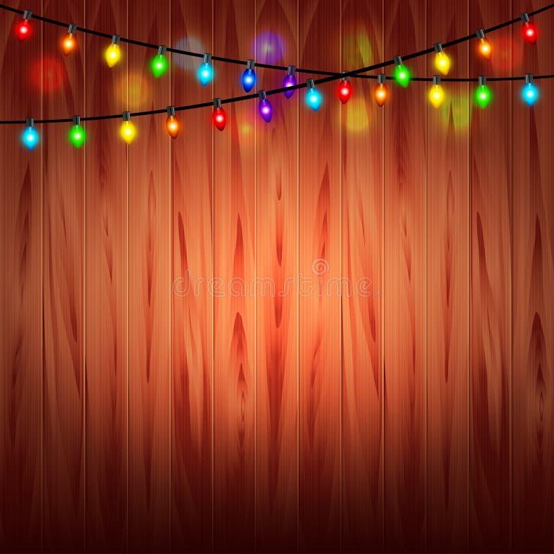 Luzes de Natal no fundo de madeira ilustração royalty free
