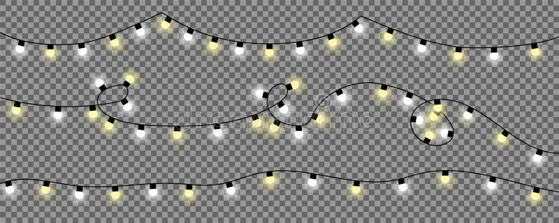 Luzes de Natal no fundo transparente ilustração do vetor