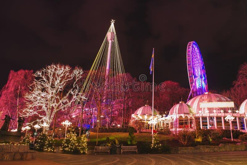 Luzes de Natal no parque de diversões Liseberg, Gothenbur, Suécia imagens de stock royalty free