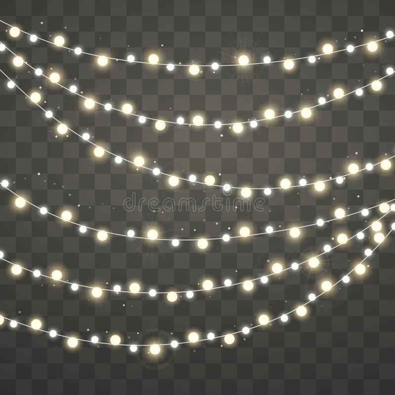 Luzes de Natal Xmas que incandesce festão branca e amarela Elementos decorativos do projeto do feriado Decorações das festões Vet ilustração royalty free