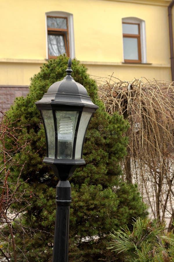 Luzes de rua no gramado Lanterna no fundo das árvores Kyiv imagens de stock